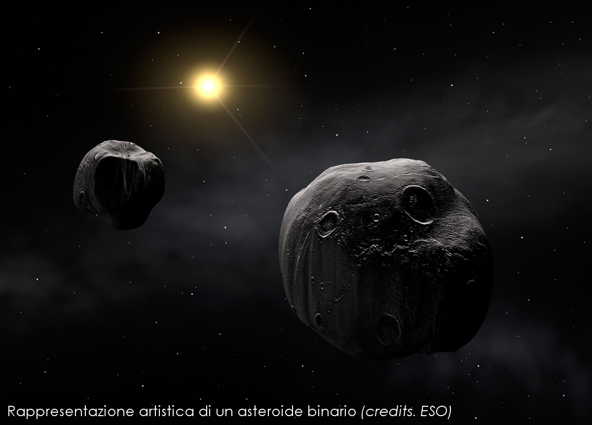 Binary Asteroid artist rendition ESO 0718a